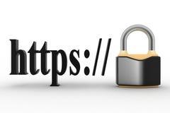 Het concept HTTPS beveiligt verbindingsteken in browser adres Royalty-vrije Stock Foto's