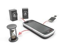 Het concept kenmerkt een mobiele telefoon Royalty-vrije Stock Foto