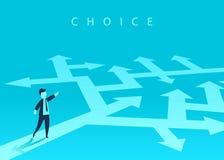Het concept het kiezen van de manier van zaken en een zakenman die de richting tonen Probleem het oplossen, manier aan succes royalty-vrije illustratie