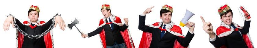Het concept koningszakenman met kroon Royalty-vrije Stock Afbeeldingen