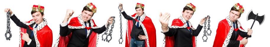 Het concept koningszakenman met kroon Stock Afbeeldingen