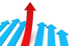 Het concept leiding, de rode pijl werd een leider Stock Afbeelding