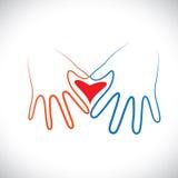 Het concept man & vrouwenpaar overhandigt samen het vormen van liefdeteken. Stock Foto