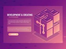 Het concept ontwikkeling en het creëren, blokkenaannemer, de digitale ruimte van de technologieserver, gegevens centreert databas royalty-vrije illustratie