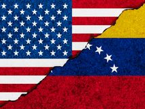 Het concept relaties/conflict tussen Venezuela en de Verenigde Staten van Amerika symboliseerde vlaggen op een gebarsten muur wor vector illustratie