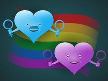 Het concept seksuele minderheden en naturals in de vorm van vrolijke harten met symbolen van mannen en vrouwen tegen de achtergro stock illustratie