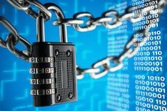 Het concept sluiting, bescherming Technologie blockchain, encryptie van Internet-verkeer stock afbeeldingen