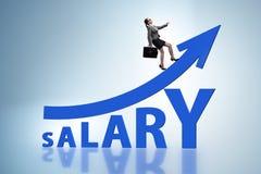 Het concept stijgend salaris met onderneemster royalty-vrije stock afbeeldingen