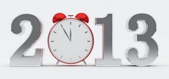 het concept van 2013 met rode klok Royalty-vrije Stock Foto's