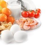 Het concept van het allergievoedsel Allergisch voedsel Stock Fotografie