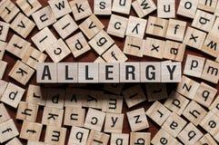 Het concept van het allergiewoord stock foto
