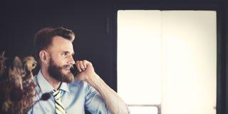 Het Concept van bedrijfszakenmanconcentrate strategy creative stock afbeeldingen