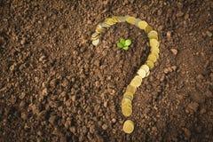 Het concept van het besparingsgeld en de vormvraagteken van het geldmuntstuk royalty-vrije stock foto's