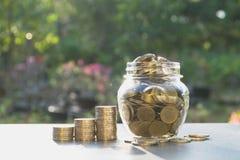 Het concept van het besparingsgeld met geldmuntstuk in de kruik voor zaken, stock fotografie