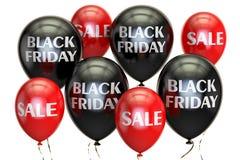 Het concept van Black Friday, van de verkoop en van de korting met ballons 3d geef terug Stock Fotografie