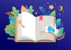 Het concept van het boekfestival - een groep uiterst kleine mensen die een reusachtig open boek lezen Vectorillustratie, affiche  vector illustratie