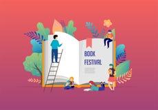 Het concept van het boekfestival - een groep uiterst kleine mensen die een reusachtig open boek lezen Vectorillustratie, affiche  royalty-vrije illustratie