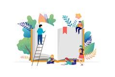 Het concept van het boekfestival - een groep uiterst kleine mensen die een reusachtig open boek lezen Vectorillustratie, affiche  stock illustratie