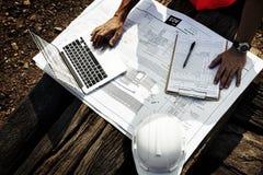Het Concept van bouwvakkerplanning contractor developer royalty-vrije stock fotografie
