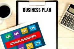 Het concept van het businessplan, b2b zaken-aan-consument doel stock afbeelding