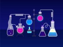 Het concept van het chemielaboratorium Stock Foto's