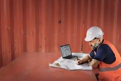Het Concept van Construction Site Planning van de ingenieursarchitect stock afbeelding