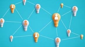 Het concept van het creativiteitidee met menselijke samenwerking op gloeilamp royalty-vrije illustratie