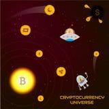 Het concept van het Cryptocurrencyheelal Ð ¡ ryptocoins in de vorm van planeten Stock Foto