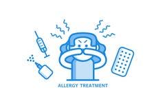 Het concept van de allergiebehandeling met jonge vrouw die allergisch Rhinitis en diverse geneesmiddelen hebben rond haar Royalty-vrije Stock Fotografie