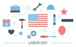 Het concept van de arbeidsdag met de vlag van de V.S. Amerikaanse traditie vector illustratie