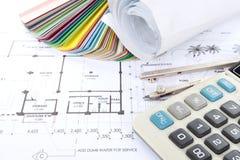 Het concept van de architect ontwerp en projecttekeningen Royalty-vrije Stock Foto