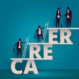 Het concept van de bedrijfscarrièregroei Van managerwerknemers of arbeiders het beklimmen tot krijgt baan Personeel of personeels royalty-vrije illustratie