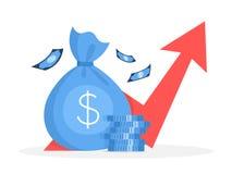 het concept van de bedrijfsfinanciëngroei Idee van geldverhoging royalty-vrije illustratie
