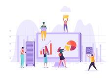 Het Concept van de bedrijfsgegevensanalyse Marketing Strategie, Analytics met Mensenkarakters die Financiële Statistiekengegevens royalty-vrije illustratie