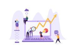 Het Concept van de bedrijfsgegevensanalyse Marketing Strategie, Analytics met Mensenkarakters die Financiële Statistiekengegevens stock illustratie