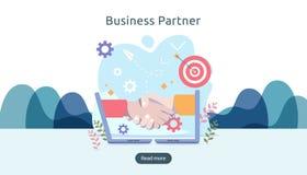 Het concept van de bedrijfsvennootschaprelatie met handschok en uiterst klein mensenkarakter team die malplaatje voor Web het lan vector illustratie