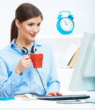 Het concept van de bedrijfsvrouwentijd uit, rode koffiekop Breek het werk Royalty-vrije Stock Afbeelding