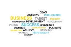 Het concept van de bedrijfswoordcollage in grijze, gele, blauwe en zwarte kleuren vector illustratie