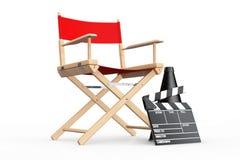 Het Concept van de bioskoopindustrie Rode Directeur Chair, Filmklep en M Stock Fotografie