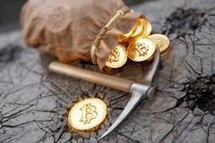 Het concept van de Bitcoinmijnbouw met pikhouweel en leerzak Stock Afbeeldingen