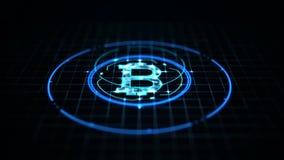 Het concept van de Bitcoinmunt: Bitcoinpictogram op digitale gegevensachtergrond royalty-vrije illustratie