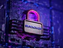 Het concept van de Blockchaintechnologie 3d geef terug royalty-vrije stock foto