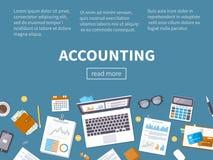 Het concept van de boekhouding Financiële analyse, analytics, gegevensanalyse planning stock illustratie