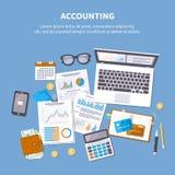 Het concept van de boekhouding Financiële analyse, belastingsbetaling vector illustratie