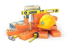 Het concept van de bouw Een deel van bakstenen muur in bouwproces Royalty-vrije Stock Afbeelding