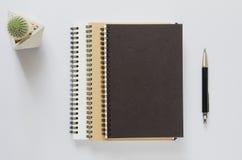 Het concept van de bureauwerkplaats Notitieboekje, cactus en pen op wit bureau Stock Fotografie