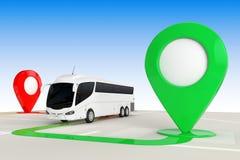 Het Concept van de busreis Grote Witte Bus Tour Bus van hierboven van Abstracte Navigatiekaart met de Wijzers van de Doelkaart he vector illustratie