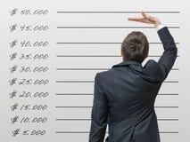 Het concept van de carrière De mens vergelijkt zijn inkomen met gemiddeld loon stock afbeelding