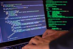 Het concept van de computermisdaad, de plaats van de hakkerbreuk stock fotografie