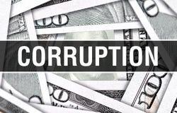Het Concept van de corruptieclose-up Het Amerikaanse Geld van het Dollarscontante geld, het 3D teruggeven Corruptie bij Dollarban stock afbeeldingen